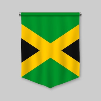 3d realistic pennant with flag of jamaica