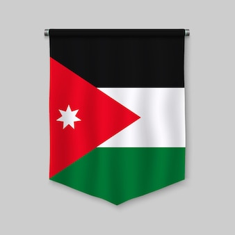 3d realistic pennant with flag of jordan