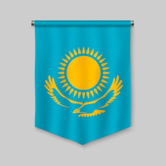 3d realistic pennant with flag of kazakhstan