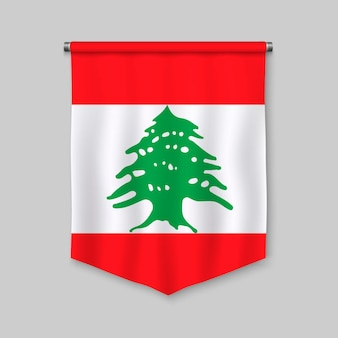 3d realistic pennant with flag of lebanon