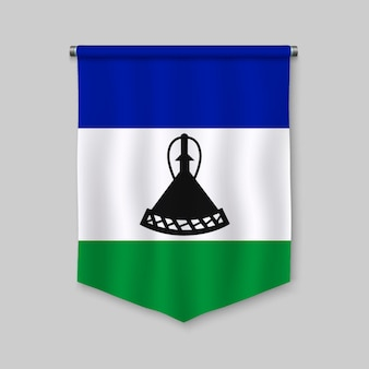 3d realistic pennant with flag of lesotho
