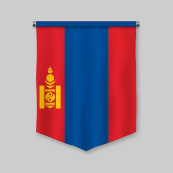 3d realistic pennant with flag of mongolia