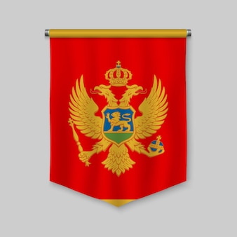 3d realistic pennant with flag of montenegro