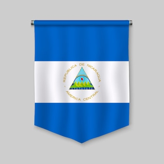 3d realistic pennant with flag of nicaragua