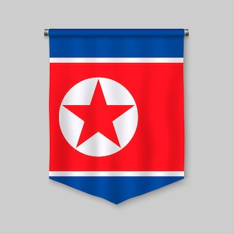 3d realistic pennant with flag of north korea