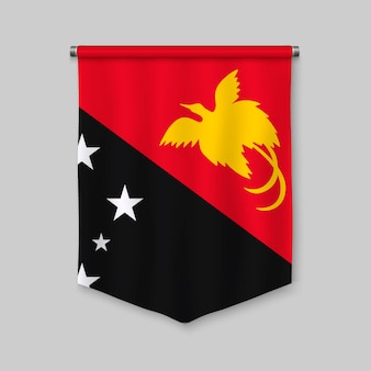 3d realistic pennant with flag of papua new guinea