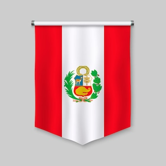 3d realistic pennant with flag of peru