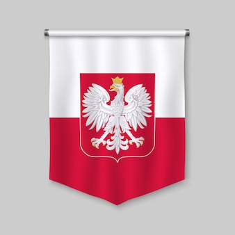 3d realistic pennant with flag of poland