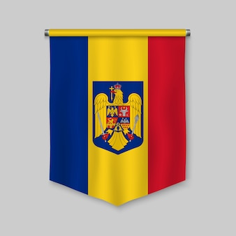 3d realistic pennant with flag of romania