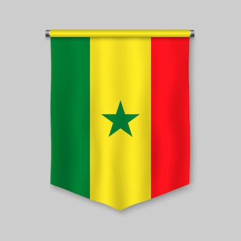 3d realistic pennant with flag of senegal