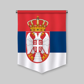 3d realistic pennant with flag of serbia
