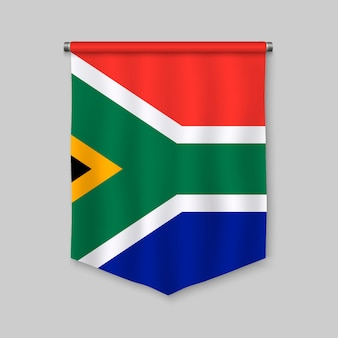 3d realistic pennant with flag of south africa