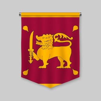 3d realistic pennant with flag of sri lanka