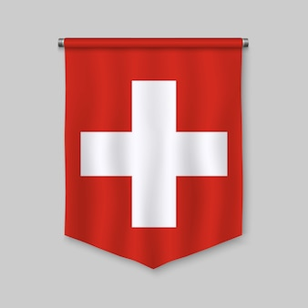 3d realistic pennant with flag of switzerland