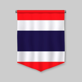 3d realistic pennant with flag of thailand