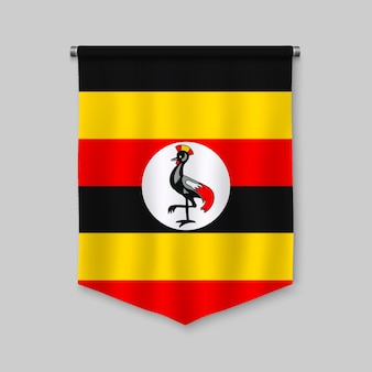 3d realistic pennant with flag of uganda