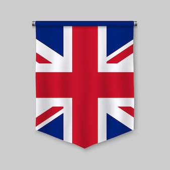 3d realistic pennant with flag of united kingdom