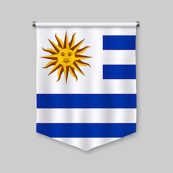 3d realistic pennant with flag of uruguay