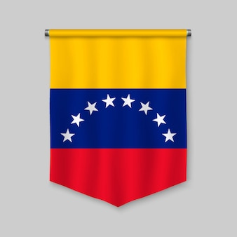 3d realistic pennant with flag of venezuela