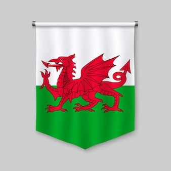 3d realistic pennant with flag of wales
