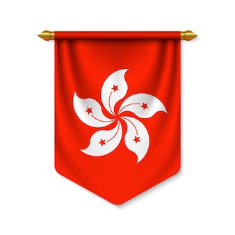 3d realistic pennant with flag