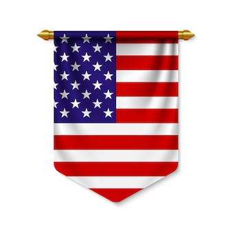 3d realistic pennant with flag Premium Vector