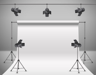 3d realistic photo, video studio with spotlights, white background