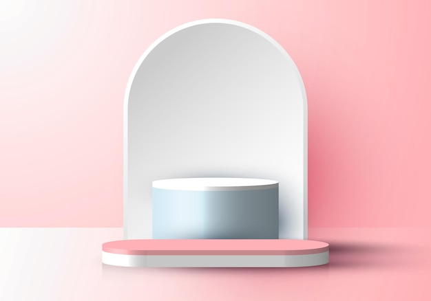 3d realistic pink display product minimal scene background podium with rounded white backdrop platform for cosmetic beauty. vector illustration