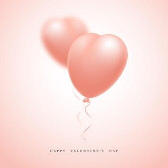 3d реалистичные розовые шары сердца с эффектом размытия. день святого валентина праздник.
