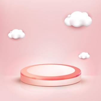 3d realistic pink podium and cute cloud background, showcase for cosmetic or beauty product