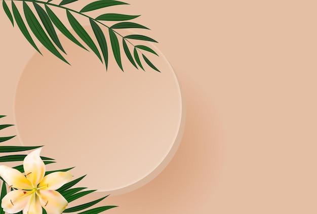 3d 현실적인 연단과 종려 나무 잎.