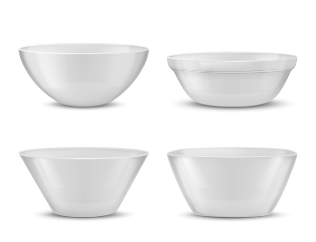3d realistic porcelain tableware, white glass dishes for different food.