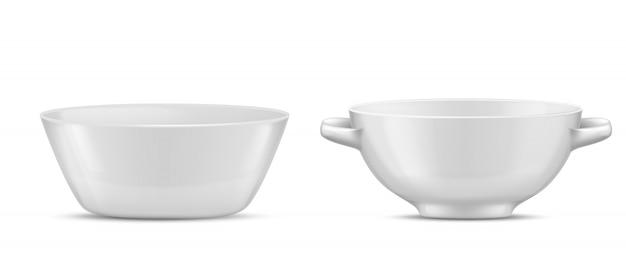 3d現実的な磁器の食器、さまざまな食べ物のための白いガラス料理。手でサラダボウル
