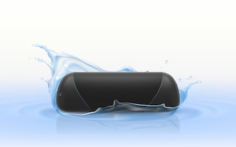 3d realistic portable loudspeaker in blue water. Waterproof wireless sound device