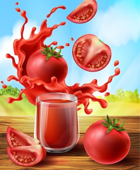3d realistic promo banner with tomato juice in splashes, glass cup.