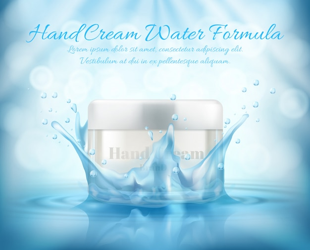 3d realistic promotion banner, mock up with glass jar of cosmetic, hand cream