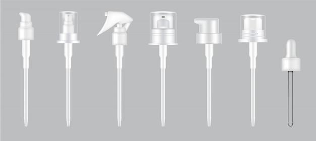 3d realistic pump, dropper and spray cap