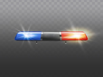 3d realistic red and blue flasher for police car. Signal of ambulance or other municipal service