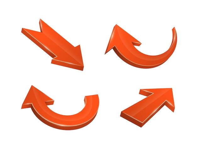 다양한 방향을 가리키는 3d 현실적인 빨간색 화살표 곡선 직선의 컬렉션