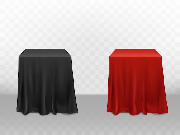 3d realistic red and black silk tablecloth. empty furniture isolated on transparent background