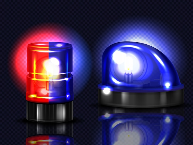 3d realistic red and blue flashers. police, ambulance or other municipal service siren