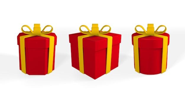 노란 리본과 활이 있는 3d 현실적인 빨간색 선물 상자. 그림자와 흰색 배경에 종이 상자. 벡터 일러스트 레이 션.