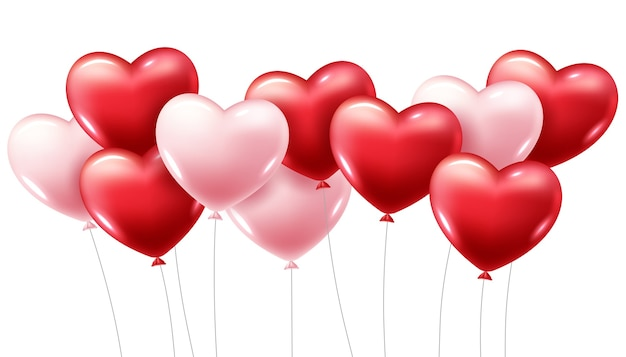 3d realistic red heart balloons flying