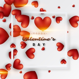 3d realistic red hearts background.