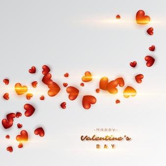 3d реалистичные красные сердца с горящими огнями. день святого валентина праздник.