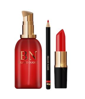 3d 현실적인 빨간 립스틱, 연필 및 화장품 크림 병 디자인 템플릿