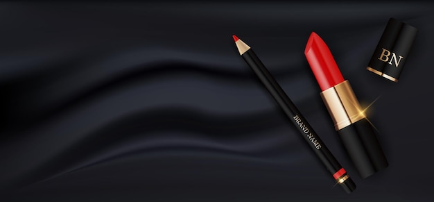 3d realistic red lipstick and pencil on black silk design template of fashion cosmetics product