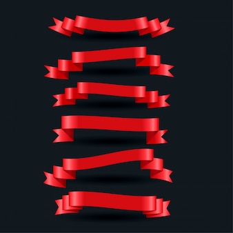 3d realistic red shiny ribbons set