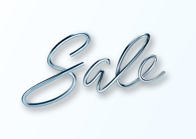 3d реалистичные продажи металлические надписи Premium векторы