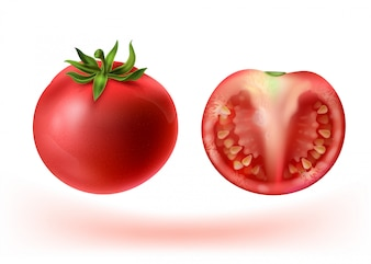 3d realistic set of red tomatoes. Whole vegetable and half with seeds.